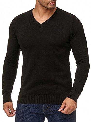 BARBONS Herren Pullover mit V-Ausschnitt - Slim-Fit - Hochwertige Baumwollmischung - Feinstrick-Pullover - Schwarz XL