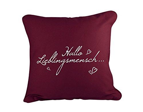 Dekokissen Hallo Lieblingsmensch B x H: 40cm x 40cm Farbe: rot von Klebefieber®