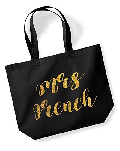 Einkaufstasche mit Nachnamen und Nachnamen (englischsprachig), personalisierbar, mit Glitzer- oder Metallic-Druck, für Geburtstage, Hochzeiten, Weihnachten Gold/Glitzer