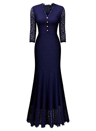 Miusol Elegante Damen 3/4 Arm V-Ausschnitt Spitzen Brautkleid Festliches Kn?pfe Cocktailkleid Langes Abendkleid Navy Blau Gr.S - 4