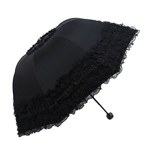 FakeFace® Damen Mädchen 100% Polyester Spitze Faltbarer Regenschirm Sonnenschirm Manuell UV-Schutz Schirm für Outdoor Camping Fashion Geschenk (Schwarz)