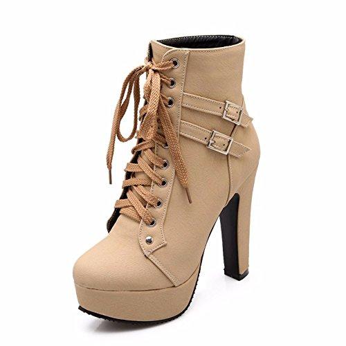 THk&M Meine Damen boot system mit niedrigen und Fett mit 34-50 cm high-heel Riemen Schnürung im Herbst und Winter, beige, 37 (Sandalen Beige Patent Damen)