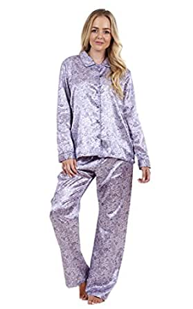 superbe pyjama pour femme en satin imprim manches longues pyjama en soie. Black Bedroom Furniture Sets. Home Design Ideas