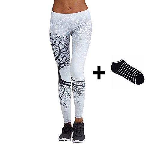 Yoga Hosen Damen, DoraMe Frauen Fitness Bewegung Athletischen Hosen Training Tree Drucken Yoga Leggings (L, Weiß)