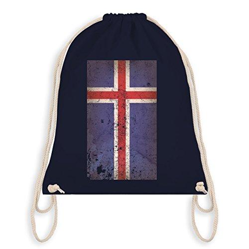 Shirtracer Fußball-Weltmeisterschaft 2018 - Island Flagge Vintage - Unisize - Navy Blau - WM110 - Turnbeutel & Gym Bag