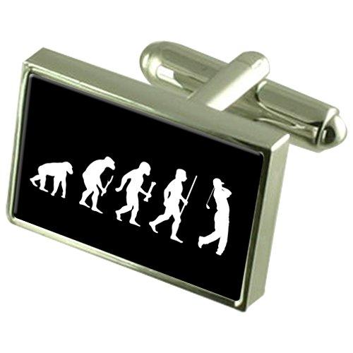 Evolution Affen zum Menschen Golf 925 Sterling Silber Manschettenknöpfe Boxed (Classic Golf Premier)