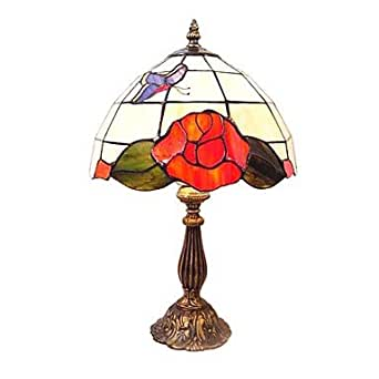 60W Tiffany Lampe de table en verre avec motif papillon