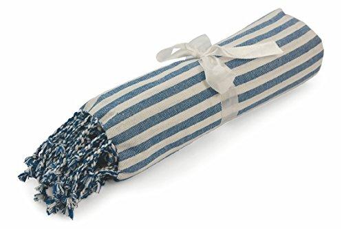 Galileo Casa 2416677Paxos Strandtuch mit Fransen, 100x 200cm, 260gr, Blau