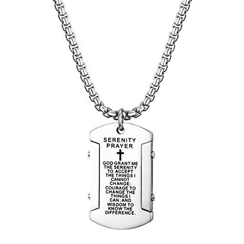 Cupimatch Dog Tag Herren Hundemarke mit Bibel Gravur Kette Halskette Anhänger für Männer Man Erkennungsmarke Edelstahl Jungen 60cm, Silber - Tags Militärische Personalisierte Dog