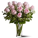 FloraZone Pink in Vase Pink Roses in a Glass Vase Same Day Delivery