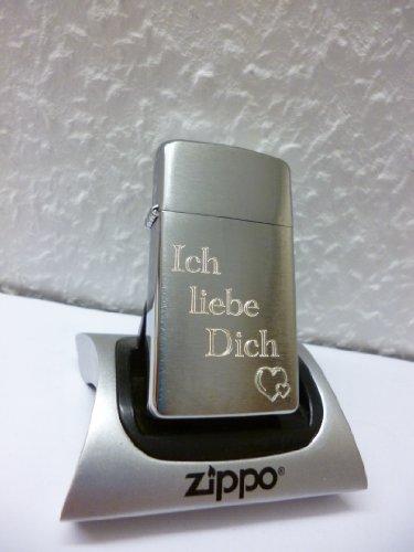 1027009 Zippo Feuerzeug Slim Geschenk Set mit persönlicher Gravur zum Valentinstag