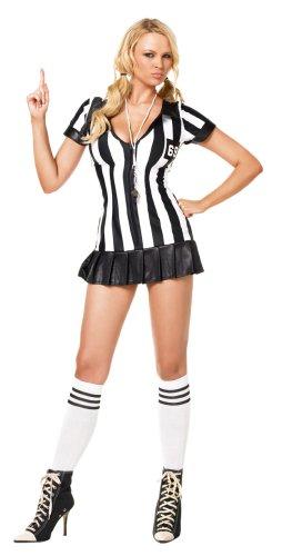 Schiedsrichter Kostüm (Leg Avenue 83067 - 3Tl. Schiedsrichterin Kostüm Set Mit Kleid Mit Kniestrümpfen Und Pfeife Damen Dessous Reizwäsche, XL (EUR)