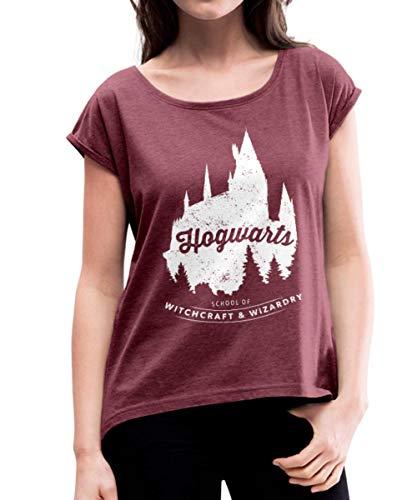 Spreadshirt Harry Potter Hogwarts School Frauen T-Shirt mit gerollten Ärmeln, S (36), Bordeauxrot meliert (Hexerei Top Filme)