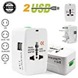 Tavakkal Upgraded Latest Universal Adapter Worldwide Travel Adapter With Built In Dual USB Charger Ports