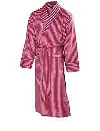 Lloyd Attree & Smith - Robe De Chambre Pour Homme - Rayé Bordeaux - Homme - 100% Coton Ultra Léger