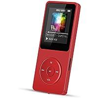 """AGPtek A02 - Reproductor de MP3 8 GB pantalla de 1,8"""" con radio y grabadora de voz, Súper duración de radiación 70 horas, Rojo"""