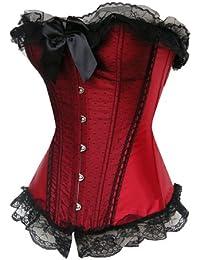 E-Girl Aesthete bowknot Décor Hem Corset en dentelle,rouge
