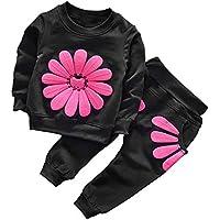 Borlai Bebé Niñas Camisa de Manga Larga Pantalones Conjuntos Casuales Conjunto Chándales Estampados de Flores