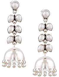 Ahilya Silver Jhumki Earrings for Women (Silver) (AER17070-67SNF)