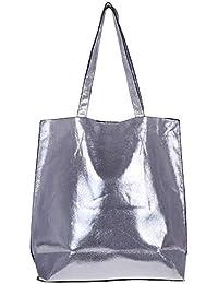 8568d5ad7 Tote Bag Women Designer Handbags - Simois Extra Large Foldable Faux Leather  Waterproof Beach Bag Silver
