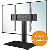 BONTEC Universal Table Top TV Stand for 26-55 LED OLED LCD Plasma Flat Curved Screens Height Adjustable Pedestal Glass Base Max. VESA 400x400mm up to 40KG
