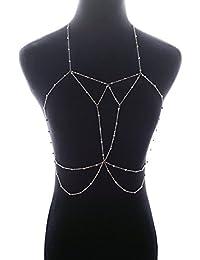Ocamo Women Fashion Copper Beads Bra Body Chain Bikini Bra Accessories