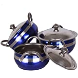 SAPL Stainless Steel Serving Bowl With Lid, Pack Of 3