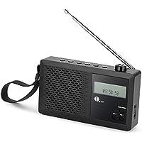 1byone Portable Digital DAB/FM Radio with FM Tuner, Alarm Clock, LCD Display, Headphone Jack, Black - ukpricecomparsion.eu
