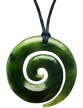 Maori Nephrite Jade / Pounamu Koru Kettenanhänger aus Neuseeland