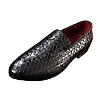 Men's Fashion Breathable Pointed Sequins Wild Slip-On Lofaer Leather Shoes