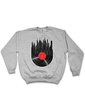 Vinyl City Sweatshirt – Club Disco Retro Music Phonograph Record Player Turntable DJ MC Record Collector Disc...