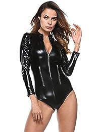 Sunnywill sous-vêtements de Combinaison Sexy pour Femmes, Leather Zipper PU sous-vêtements Sexy