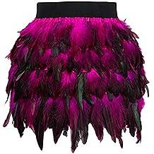 f4e096bb36 DEELIN Mujeres Moda Personalidad Color Santa Halloween ImitacióN De Plumas  Una LíNea Cosplay Mini Falda SeñOras