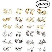 LUOEM 24 Pair/Set Ear Stud Hipoalergénica Mujeres Pendientes Crystal Geometric Crystal Earrings