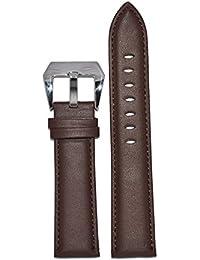 Kolet 22Mm Plain Padded Brown Leather Watch Strap