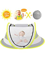 Baby Beach Tent, Pop Up Baby Tent Portable Baby Travel Tent Bed with Mosquito Net, UPF 50+ UV Protection Baby Sun Tent with Baby bid & 2 Pegs Folding Infant Sun Shelter for Toddler Indoor Outdoor