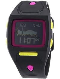 Nixon The Small Lodown All Black / Neon Pop A4981322-00 - Reloj cronógrafo de cuarzo unisex, correa de plástico color negro (alarma, cronómetro, luz)