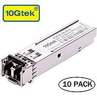 10Gtek [10 Pack] Gigabit Módulo SFP Multimodo, 1000Base-SX SFP LC Transceiver, Compatible para Cisco GLC-SX-MMD, Ubiquiti, Netgear, D-Link, TP-Link, Zyxel, Mikrotik, Open Switch, 10pcs