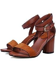 DZW Womens Open Toe Fashion Cortex Platform Femmes Ceinture de cheville Prom Party Chaussures Sandales Taille du talon hautDemander aux jeunes