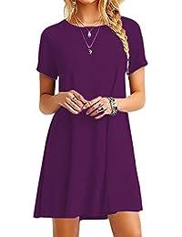 OMZIN Damen Kleid Kurzarm Casual Rundausschnitt Tops Longshirt Große Größe 2XS-5XL