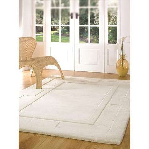 Lujo Diseño de marfil con relieve Plain alfombra de lana disponible en 4sizes-elements, beige, 150x210cm (4'11
