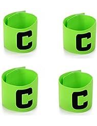 Katech 4piezas de ajustable Capitanes brazaletes alta calidad fútbol brazalete elástico Fútbol brazalete apto para varios deportes, verde