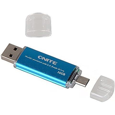 Onite Menmoria USB 16G (azul) CoolFlash Doble Finalidad USB Flash Drive de disco para el teléfono móvil /