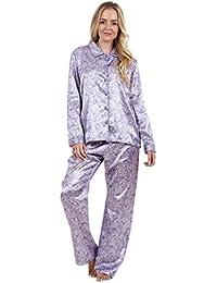 Pijama de raso con llamativo estampado de manga larga para señora Prenda para dormir Pijama de seda