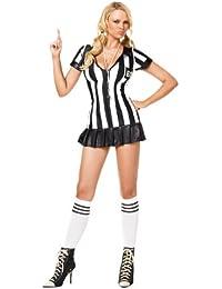 Leg Avenue 83067 - 3Tl. Schiedsrichterin Kostüm Set Mit Kleid Mit Kniestrümpfen Und Pfeife Damen Dessous Reizwäsche, M/L (EUR 40-42)