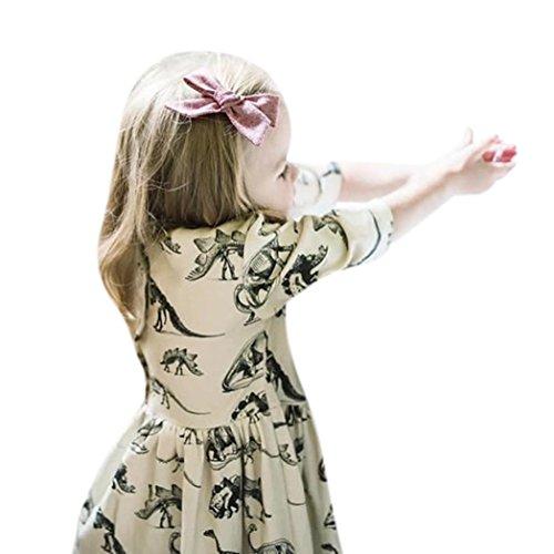 Für 0-18 Monate Mädchen Kleid , Janly Kleinkind Infant Cartoon Dinosaurier Print Sun Kleider Tunika Tops (0-3 Monate, Beige) (18 Monat-mädchen-kleider)