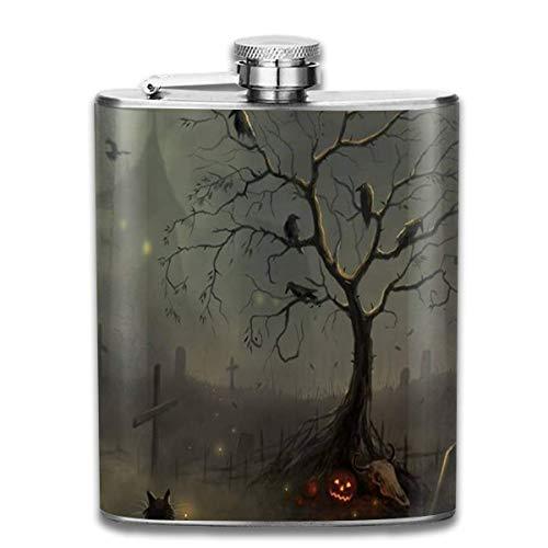 Rundafuwu Flask for Liquor7 Oz Stainless Steel Flask Portable Hip Liquor Flasks, Have A Spooky Halloween Mini Flagon,Leather Packaging Jug Flagon for Men Women Gift