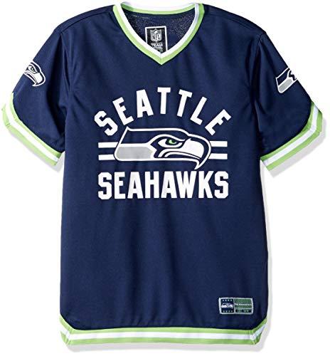 Icer Brands NFL Seattle Seahawks Herren Jersey-T-Shirt, V-Ausschnitt, Netzstoff, gestreift, Größe L, Marineblau