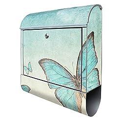 Banjado Design Briefkasten mit Motiv Blaue Schmetterlinge | Stahl pulverbeschichtet mit Zeitungsrolle | Größe 38x47x14cm, 2 Schlüssel, A4 Einwurf, inkl. Montagematerial