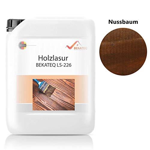 BEKATEQ 2,5L Holzlasur farbig aussen innen für Möbel Gartenhaus | UV-stabil - atmungsaktiv (Nussbaum)
